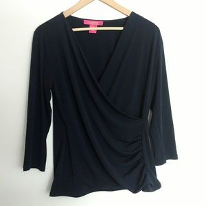 Catherine Malandrino Navy Wrap Front Top - M